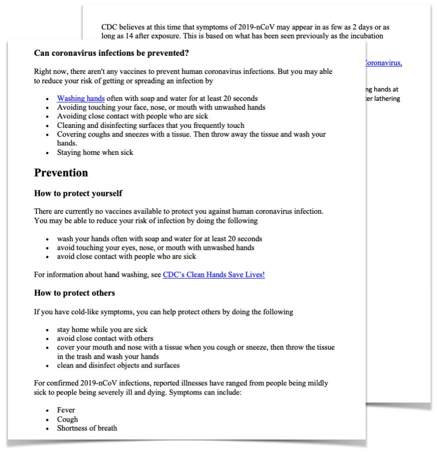 Coronavirus Patient Education Template